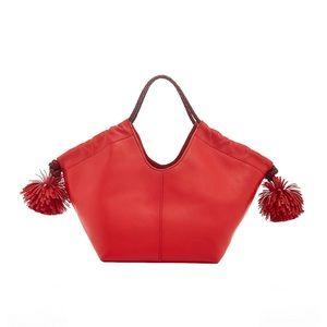 Ulla Johnson Lali Cherry Red Leather Mini Tote Bag